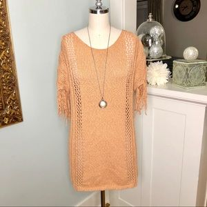 Easel Fringe Short Sleeve Sweater Tunic Pullover